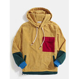 Mens Corduroy Vintage Patchwork Drawstring Hoodies With Flap Pocket