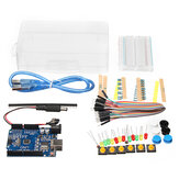 Basic Starter Kit UNO R3 Mini breadboard LED Jumper Fio Button With Caixa For Geekcreit for Arduino - produtos que funcionam com as placas Arduino oficiais