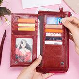 Женский RFID Антимагнитный Натуральная Кожа Ультратонкий длинный кошелек для карт