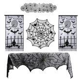 Toalha de mesa de renda do festival fantasma de Halloween Toalha de mesa teia de aranha preta Toalha de mesa decoração de festa de Halloween