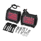 Pair Red 4Inch Tri Row 60W 20 LED Work Light Bar Flood Spot Combo Lamp for Car Offroad SUV