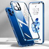 [アップグレードバージョン] Bakeey for iPhone 12 Pro/12ケース360º磁気フリップタッチスクリーン両面9H強化ガラス+レンズ付き金属ProtectorフルボディProtectiveケース
