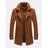 Mens Woolen Double Collar Thick Single-Breasted Casual Warm Overcoat
