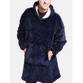 Erkek Sıcak Flanel Boy Kanguru Cep Battaniye Kapşonlu Pijama Bornozları