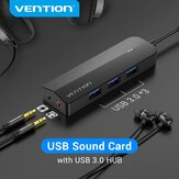 Vention 2-In-1 USB 3.0 HUB 3-Ports USB Sound Card External Stereo Audio Adapter with 3*USB 3.0/3.5mm Audio Port/ Headphone Microphone Port