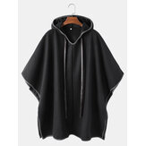 Mens Sleevless Oversized Casual Black Hooded Cloak Cape Coats