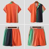 INCERUNコリジョンステッチ半袖シャツ+ショーツスーツメンズカジュアルスーツ快適で通気性のあるアウトドア半袖