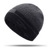 Heren Dames Winter Warm Thicken Plus Fluweel Gebreide muts met skullcap