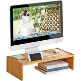 Monitor de madeira para computador de mesa para laptop Suporte de mesa para altura ajustável Suporte de base de prateleira elevada para arranjo de teclado de escritório