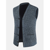 Mens Knitting Woolen Sleeveless V-Neck Button Up Warm Vests With Pocket