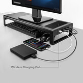 Multifunction Computer Laptop Macbook USB HUB Base Stand Holder With QI WIreless Charger