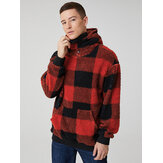 Mens Classic Plaid Plush Kangaroo Pocket Lengan Panjang Teddy Hoodies