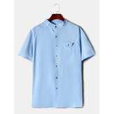 Cotton Mens Solid Color Stand Collar Short Sleeve Casual Shirts