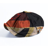 Banggood Design Men Patchwork Color Modello Cappello berretto berretto ottagonale a tesa corta casual