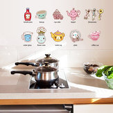 Cartoon Kitchen Utensil Wall Sticker Removable Kitchen Decorative Stickers Multi Color PVC Decals