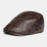 Men Genuine Leather Solid Classical Casual Forward Hat Beret Hat