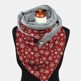 Women Lightweight Elegant Festive Christmas Snowflake Pattern Printed Thickened Warm Scarf Shawl