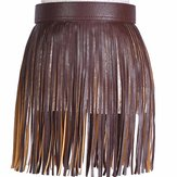 Women Tassel Fringed Belts Leather Snap Button Buckles