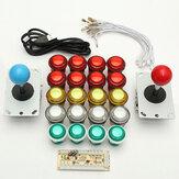 Joystick 8 Way per Encoder USB Dual Player LED Illuminato Pulsanti PC Arcade Games Kit Fai da te