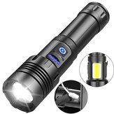 Lanterna Zoomable XANES® XHP70 LED + COB Banco de energia para celular Super Bright Lanterna LED recarregável de 7 modos USB com luz lateral COB