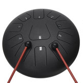 HLURU 12 Inch 11 Notes D Tone Steel Tongue Percussion Drum Handpan Instrument with Drum Mallets and Bag