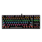 K550 87 Tombol Keyboard Mekanik Berkabel Tombol Biru Tahan Air 19 RGB Backlight Keyboard Gaming untuk Windows XP / 7/8/10