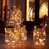 Solarbetriebener Einmachglasdeckel 20LEDs Fairy String Light Hanging Party Garden Home Decor