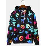 Herrer Colorful Lysende Halloween-sweatshirtprint Løse hættetrøjer med kængurulomme