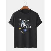 % 100 Pamuk Tasarımcı Astronot Baskı Kısa Kollu Nefes T-Shirt