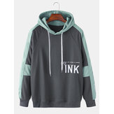 Mens Letter Text Print Patchwork Casual Loose Fit Drawstring Hoodies