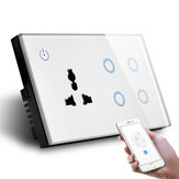 MAKEGOOD 147*86MM UK Standard Combination Switch Touch Glass Panel Smart WIFI 4gang Light Switch and Wall Socket Voice Control