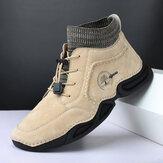Erkek Deri Kaymaz Giyilebilir Soft Taban Elastik Bağcıklı Günlük Çorap Botlar