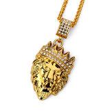 Hip Hop Moda Corrente de Ouro King Crown Lion Head Pingente Colar para Homens