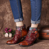 SOCOFY Women Casual Floral Splicing Pattern Warm Lined Zip Up Cone Heel Ankle Boot