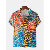 Colorful Leopard Zebra Mixed Print Short Sleeve Chest Pocket Leisure Holiday Shirts