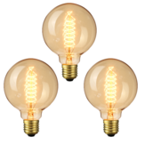 3PCS Elfeland AC220-240V 2200K E27 G95 40W Retro Edison Incandescent Light Bulb for Indoor Home Use