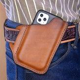 メンズ本革便利な無地6.3インチ電話ケース財布ベルトバッグウエストバッグ