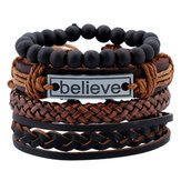 Bracelet en cuir Ancien Believe Words Bracelet multicouche