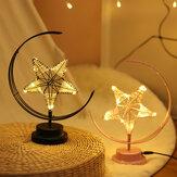 Batterie / USB Alimenté Lumière Chaude Noir / Rose Star Moon Night Light Lampe De Bureau Cadeau D'anniversaire