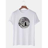 Mens grappige maan en kat grafische bedrukte casual ademende T-shirts met korte mouwen