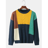 Mens Color Block Knitted Pullover Long Sleeve Sweaters