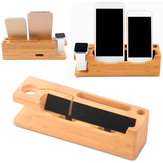 Multi-function Wooden Desktop USB Charging Stand Holder for iWatch iPhone Smartphone Tablet