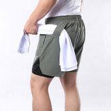 ARSUXEO Calção de corrida masculino 2 em 1 com multi-bolso Aptidão Exercício de treino Treino de corrida Academia Calção de desporto Calças