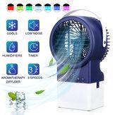 IPRee® 4 em 1 Ar condicionado ajustável de 3 velocidades Purificador de névoa Ventilador do umidificador Refrigerador de ar portátil portátil Ventilador de mesa Circulação silenciosa com 7 cores Luzes de temporização para escritório em casa ao a