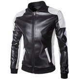 Mens PU Leather Fashion Black White Stitching motocicleta Biker Jacket Baseball Collar Coat