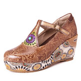 SOCOFY Retro Folkways Pattern Genuine Leather T Strap Adjustable Band Wedges Shoes