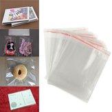 100pcs 12 × 16cm claras de exibição celofane sacos de plástico auto selo adesivo para cartão
