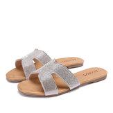 LOSTISY Mulheres Beading Oco Out Sandálias de slides casuais