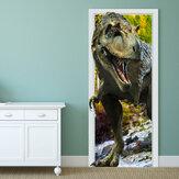 88X200CM PAG Imitative Tür 3D Wand Aufkleber Brennender Drache Tyrannosaurus Dinosaurier Wand Dekor Geschenk