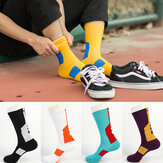Mens Cotton Geometry Patchwork Antibacterial Socks Respirável Sport Socks